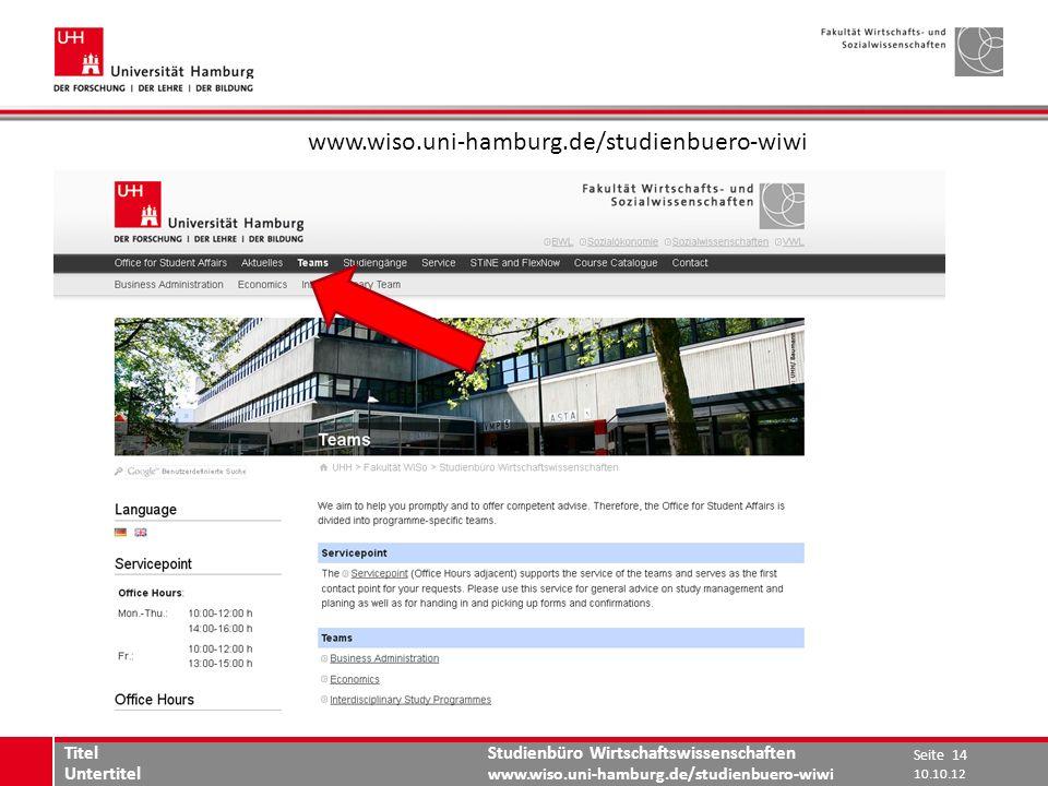 www.wiso.uni-hamburg.de/studienbuero-wiwi Titel Untertitel 10.10.12