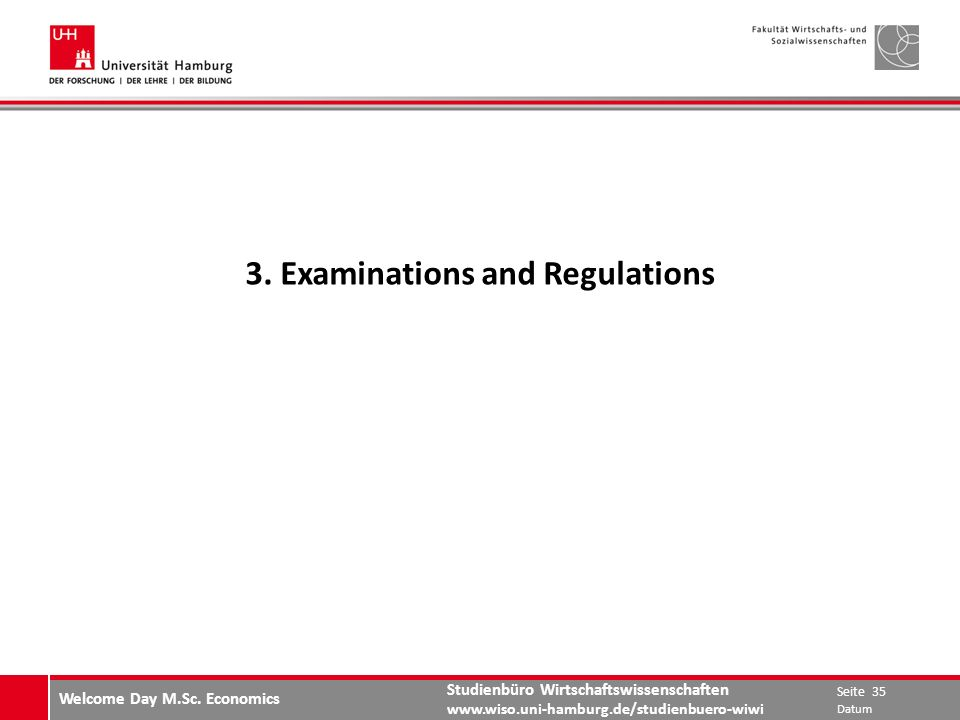 3. Examinations and Regulations