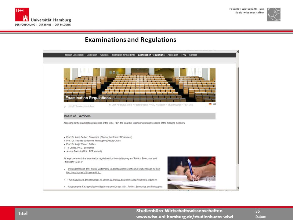 Examinations and Regulations