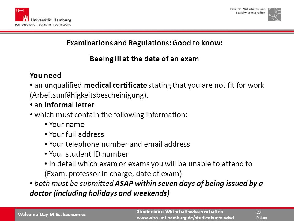 Examinations and Regulations: Good to know: