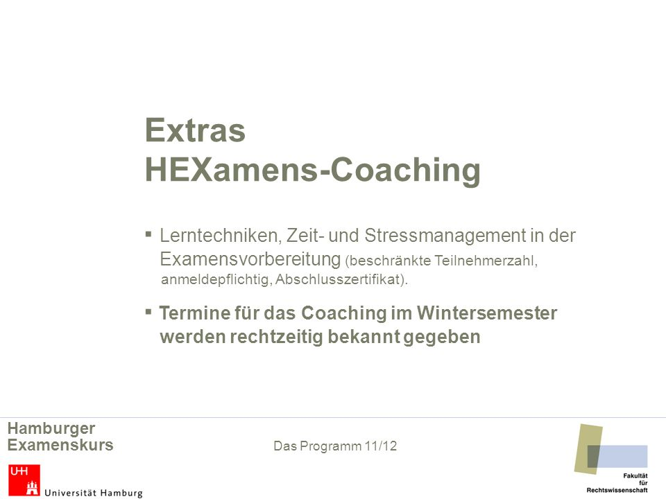 Extras. HEXamens-Coaching