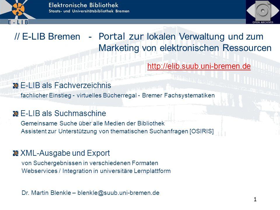 // E-LIB Bremen -. Portal zur lokalen Verwaltung und zum
