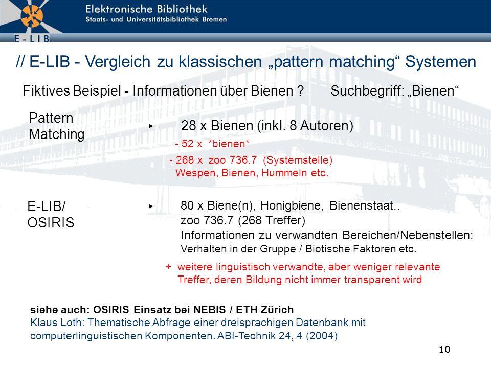 """// E-LIB - Vergleich zu klassischen """"pattern matching Systemen"""