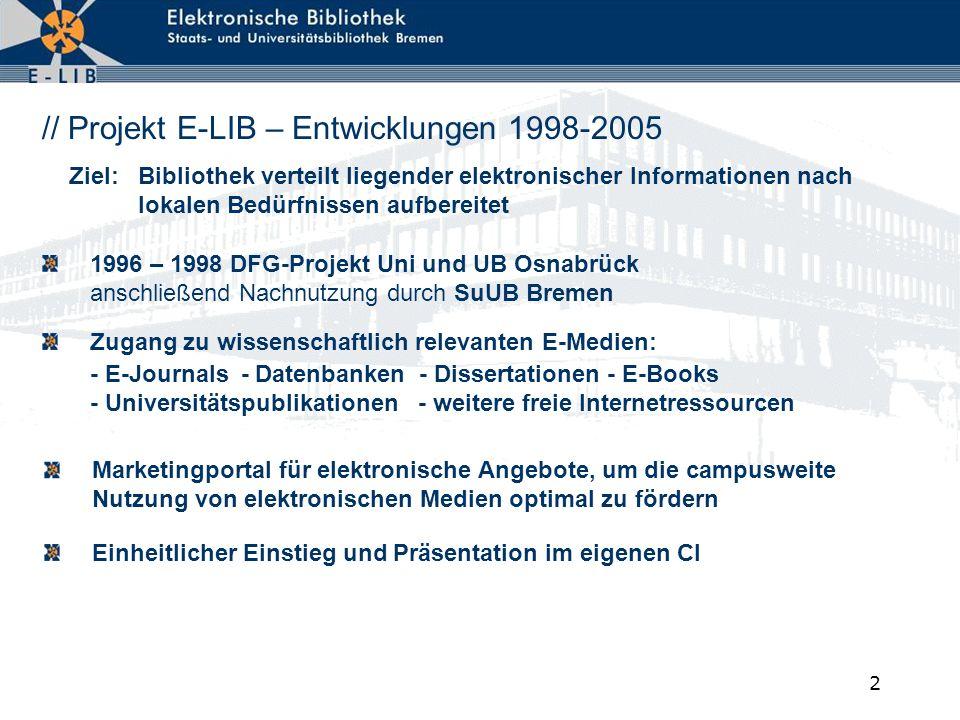 // Projekt E-LIB – Entwicklungen 1998-2005
