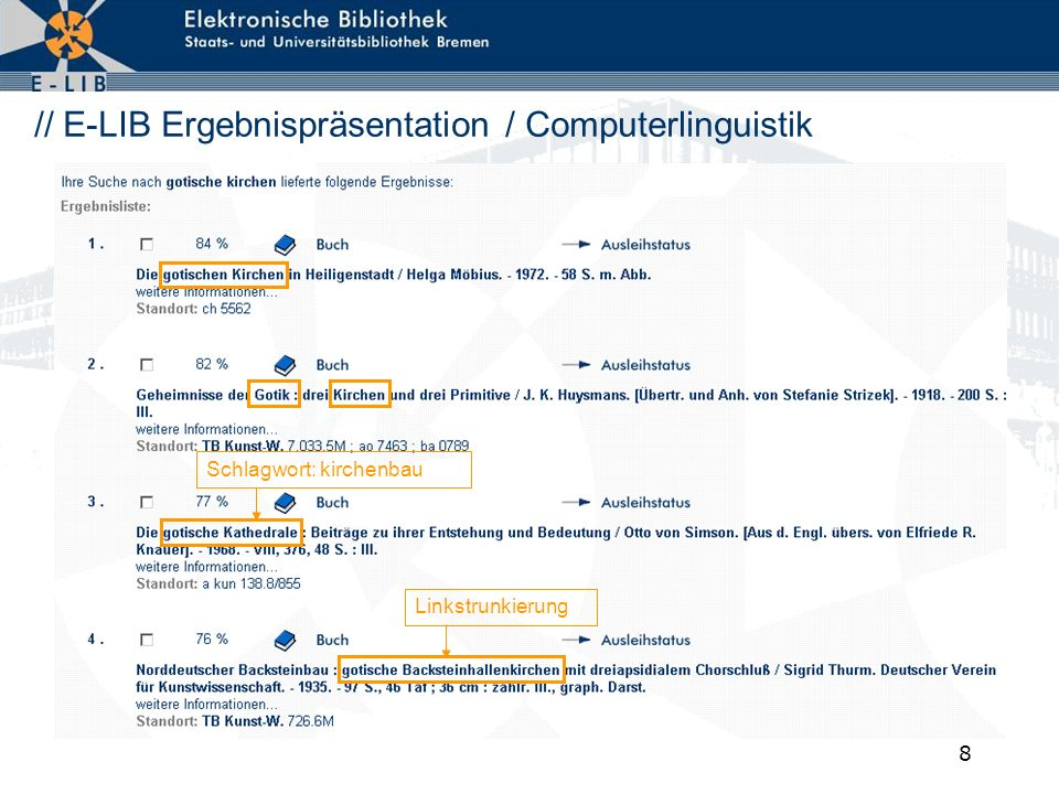 // E-LIB Ergebnispräsentation / Computerlinguistik