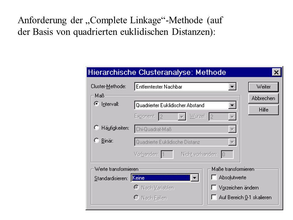"""Anforderung der """"Complete Linkage -Methode (auf der Basis von quadrierten euklidischen Distanzen):"""