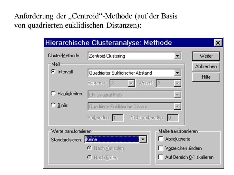 """Anforderung der """"Centroid -Methode (auf der Basis von quadrierten euklidischen Distanzen):"""