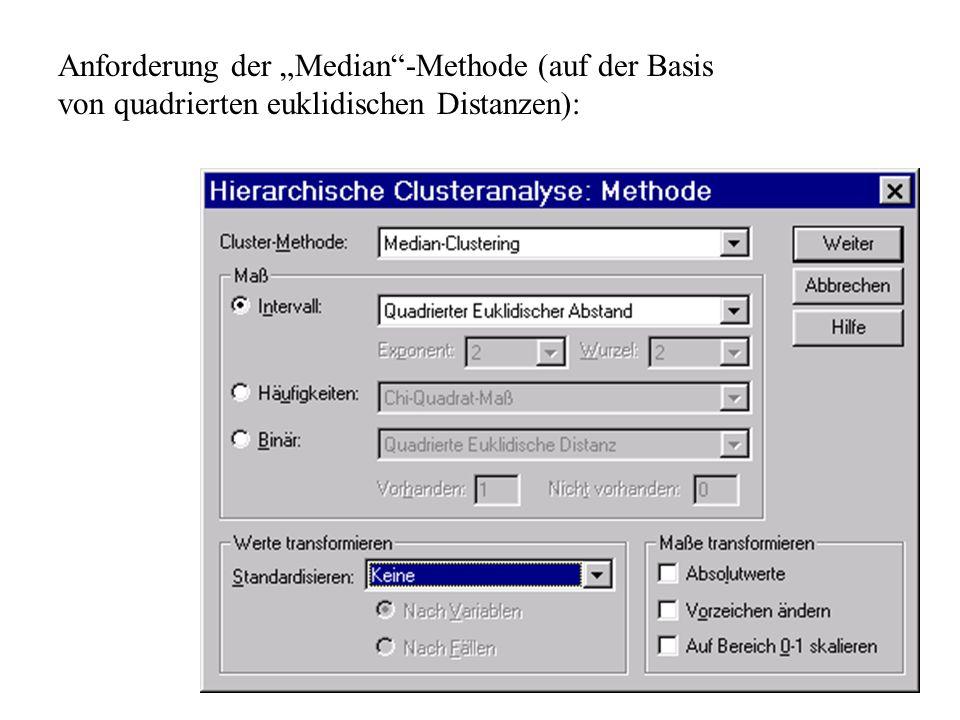 """Anforderung der """"Median -Methode (auf der Basis von quadrierten euklidischen Distanzen):"""