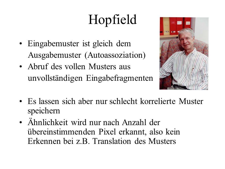 Hopfield Eingabemuster ist gleich dem Ausgabemuster (Autoassoziation)