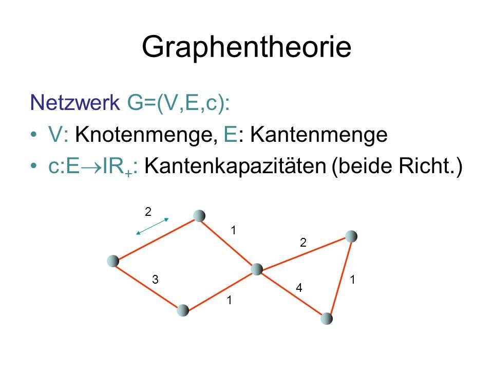 Graphentheorie Netzwerk G=(V,E,c): V: Knotenmenge, E: Kantenmenge