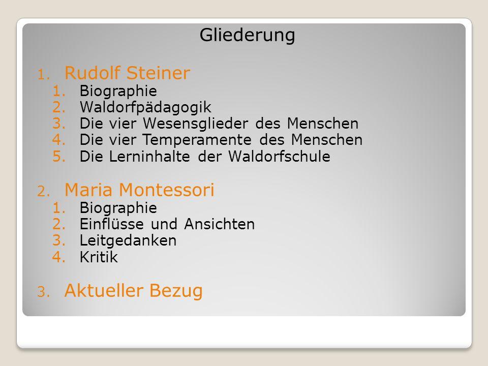 Gliederung Rudolf Steiner Maria Montessori Aktueller Bezug Biographie