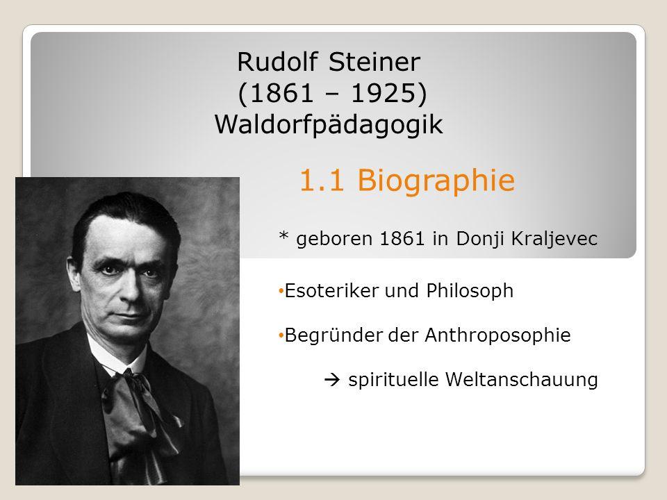 1.1 Biographie Rudolf Steiner (1861 – 1925) Waldorfpädagogik