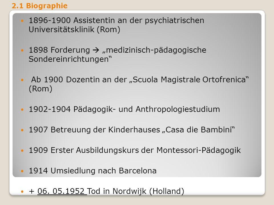 1896-1900 Assistentin an der psychiatrischen Universitätsklinik (Rom)