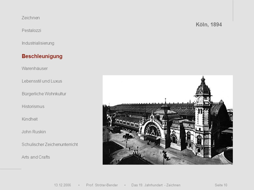 Köln, 1894 Beschleunigung Zeichnen Pestalozzi Industrialisierung
