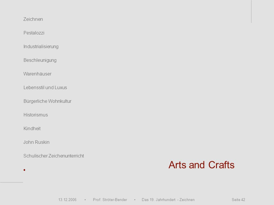 Arts and Crafts • Zeichnen Pestalozzi Industrialisierung