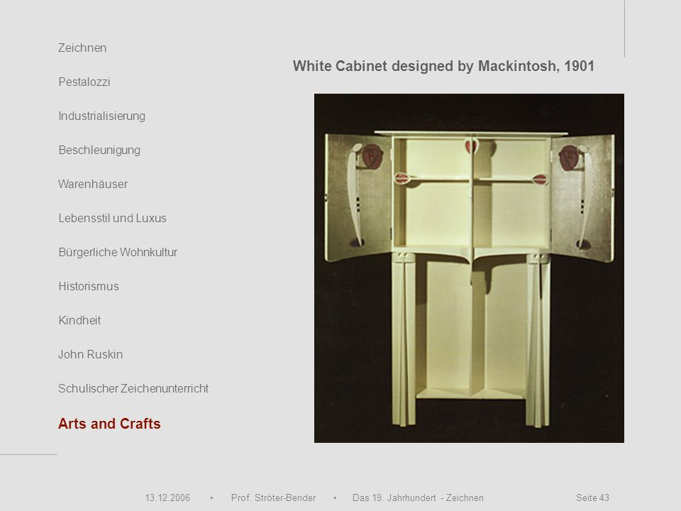 White Cabinet designed by Mackintosh, 1901