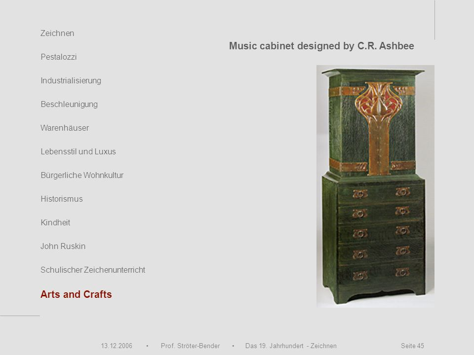 Music cabinet designed by C.R. Ashbee