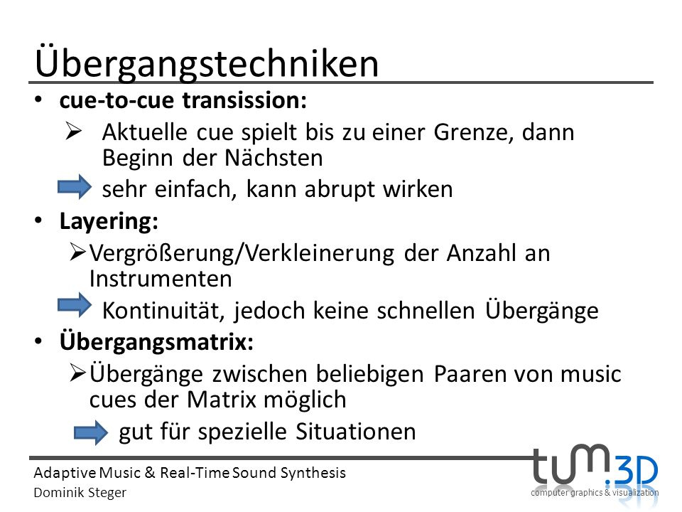 Übergangstechniken cue-to-cue transission: