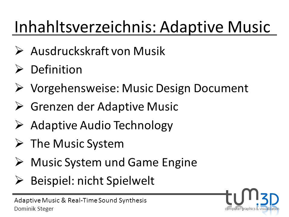 Inhahltsverzeichnis: Adaptive Music