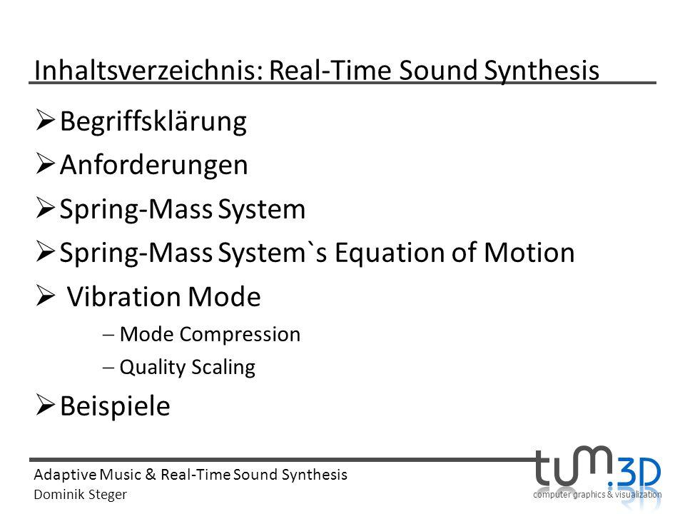 Inhaltsverzeichnis: Real-Time Sound Synthesis