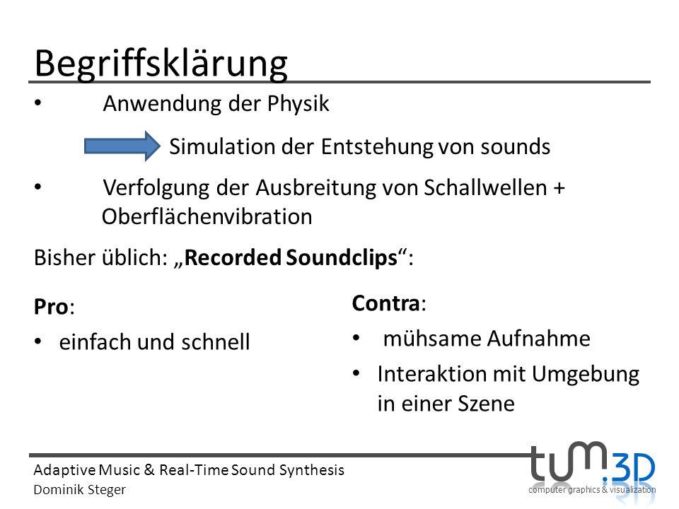 Begriffsklärung Anwendung der Physik. Simulation der Entstehung von sounds. Verfolgung der Ausbreitung von Schallwellen + Oberflächenvibration.