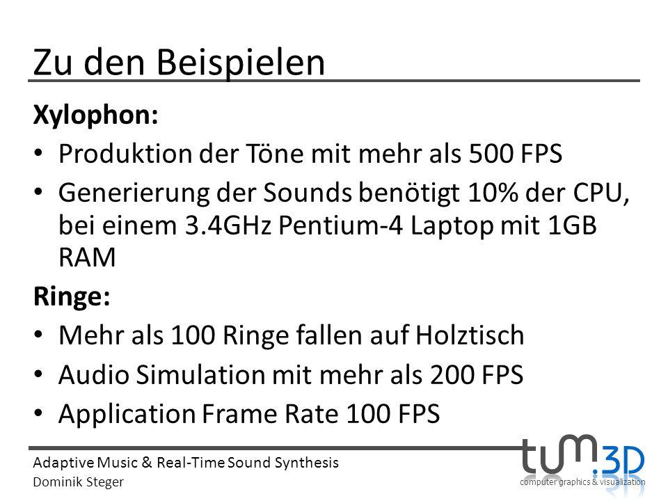 Zu den Beispielen Xylophon: Produktion der Töne mit mehr als 500 FPS