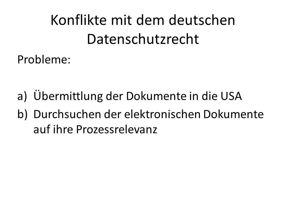 Konflikte mit dem deutschen Datenschutzrecht