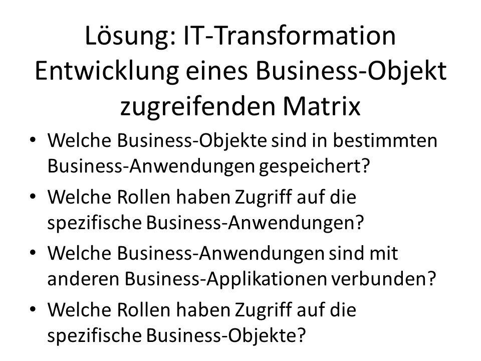Lösung: IT-Transformation Entwicklung eines Business-Objekt zugreifenden Matrix