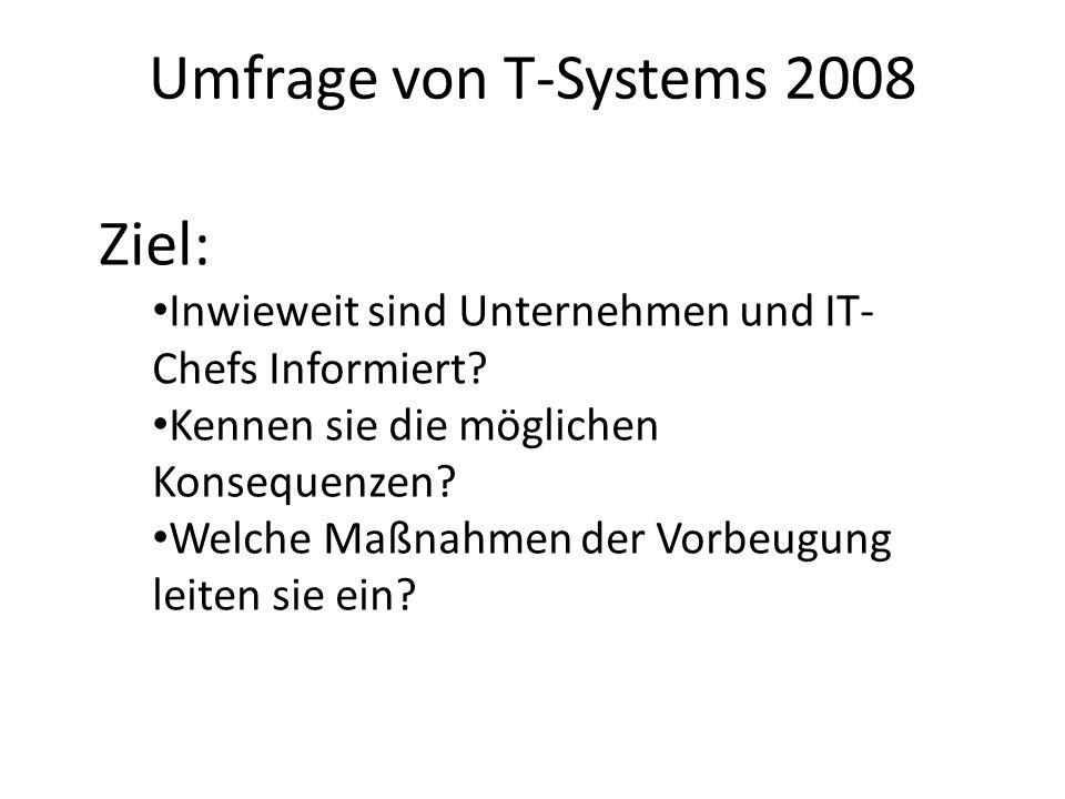 Umfrage von T-Systems 2008 Ziel: