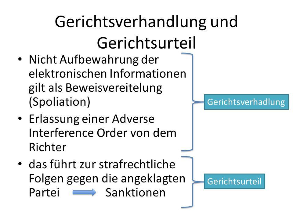 Gerichtsverhandlung und Gerichtsurteil