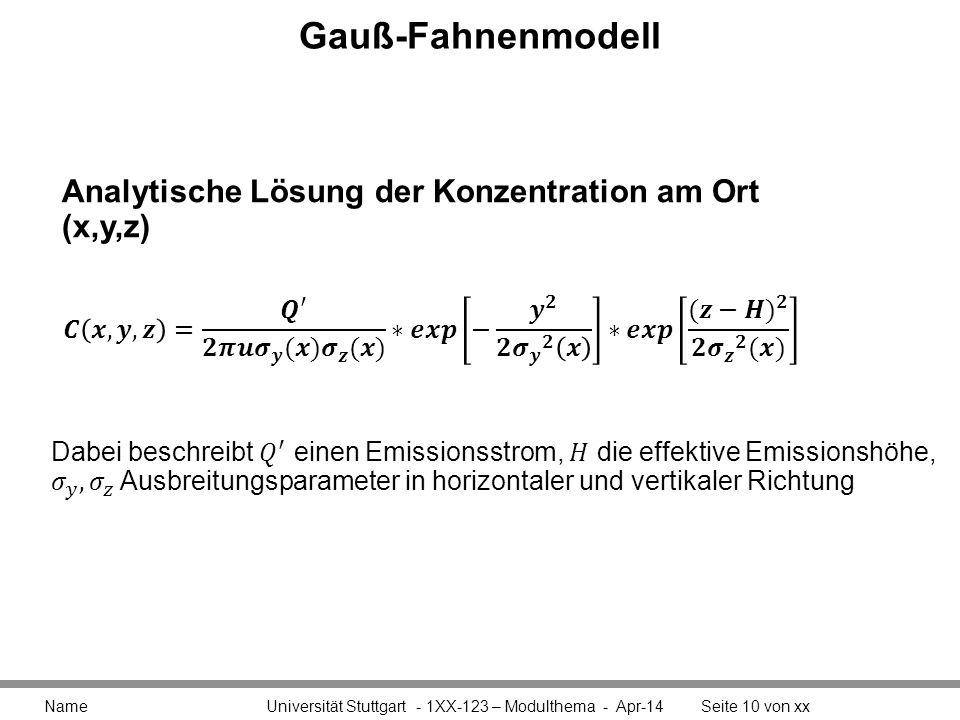 Gauß-Fahnenmodell Analytische Lösung der Konzentration am Ort (x,y,z)