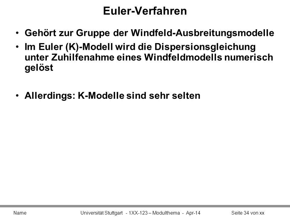 Euler-Verfahren Gehört zur Gruppe der Windfeld-Ausbreitungsmodelle