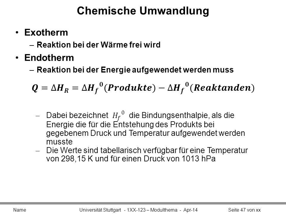 Chemische Umwandlung Exotherm Endotherm