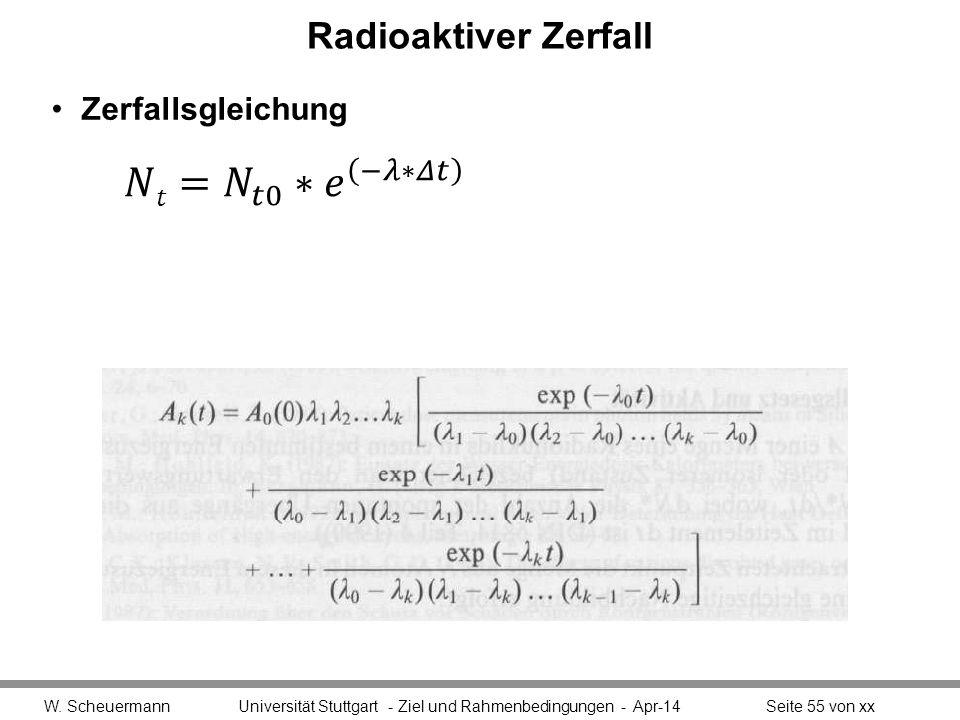 𝑁𝑡= 𝑁 𝑡0 ∗ 𝑒 −𝜆∗𝛥𝑡 Radioaktiver Zerfall Zerfallsgleichung