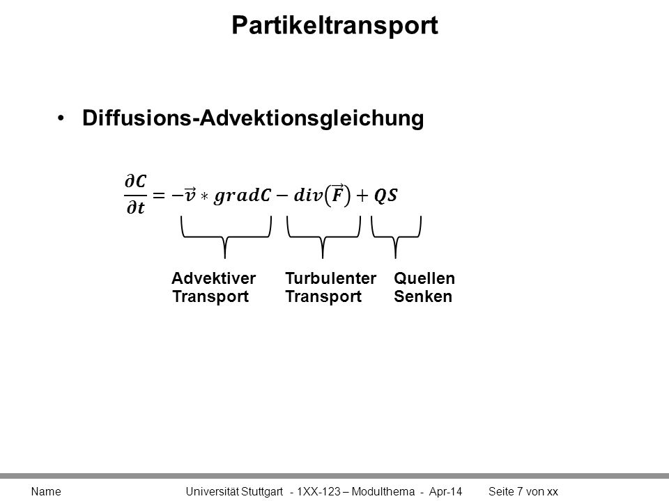 Partikeltransport Diffusions-Advektionsgleichung