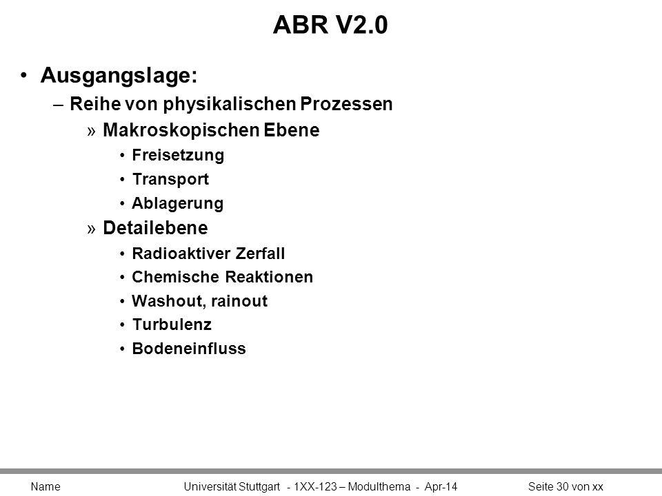 ABR V2.0 Ausgangslage: Reihe von physikalischen Prozessen