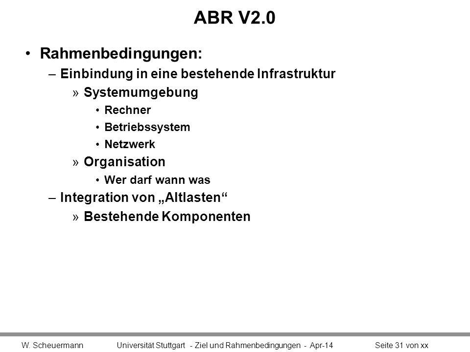 ABR V2.0 Rahmenbedingungen: