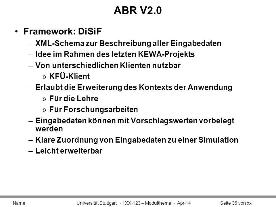 ABR V2.0 Framework: DiSiF. XML-Schema zur Beschreibung aller Eingabedaten. Idee im Rahmen des letzten KEWA-Projekts.