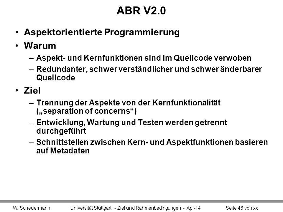 ABR V2.0 Aspektorientierte Programmierung Warum Ziel