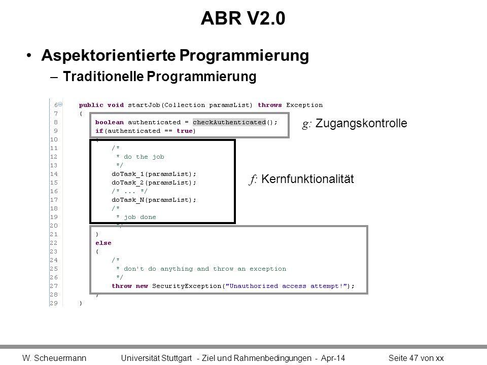 ABR V2.0 Aspektorientierte Programmierung Traditionelle Programmierung
