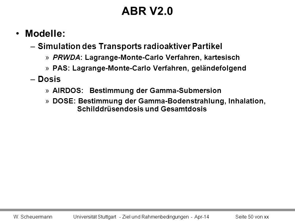 ABR V2.0 Modelle: Simulation des Transports radioaktiver Partikel