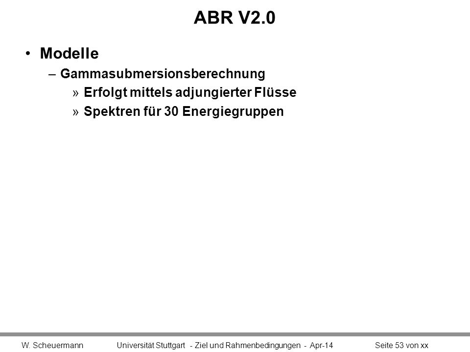 ABR V2.0 Modelle Gammasubmersionsberechnung