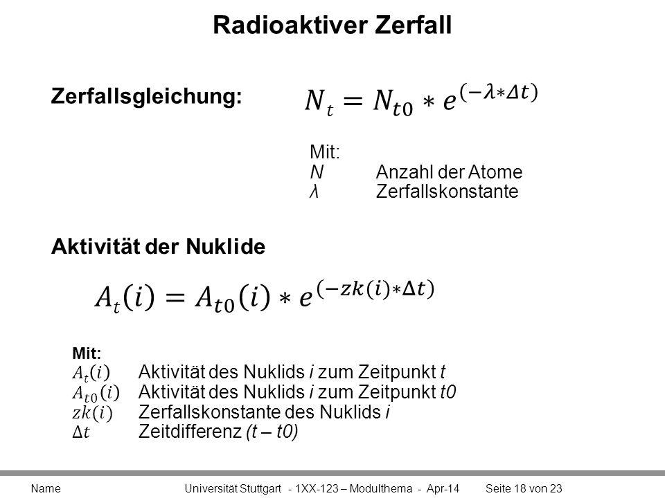 𝑁𝑡= 𝑁 𝑡0 ∗ 𝑒 −𝜆∗𝛥𝑡 𝐴𝑡 𝑖 = 𝐴 𝑡0 𝑖 ∗ 𝑒 −𝑧𝑘(𝑖)∗Δ𝑡 Radioaktiver Zerfall