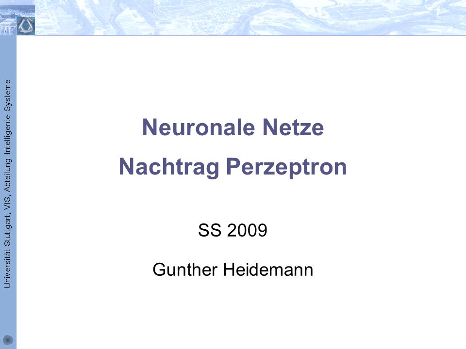 Neuronale Netze Nachtrag Perzeptron