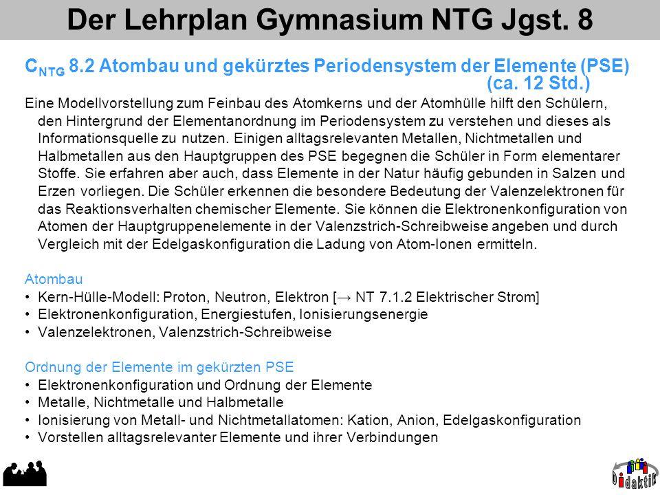 Der Lehrplan Gymnasium NTG Jgst. 8