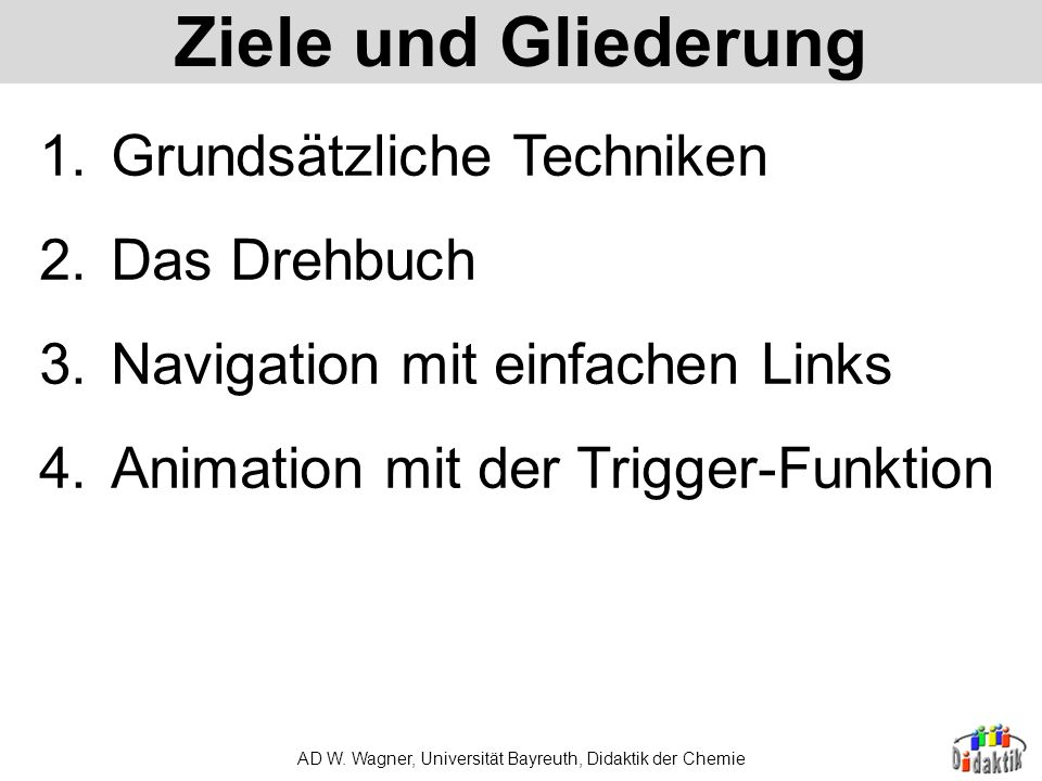 AD W. Wagner, Universität Bayreuth, Didaktik der Chemie