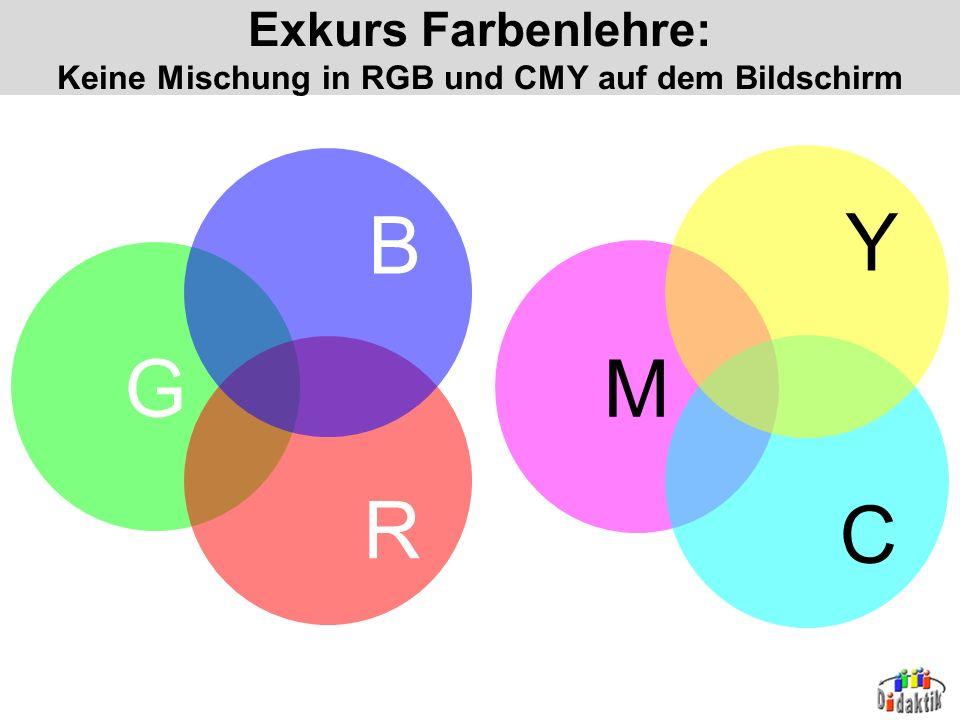 Exkurs Farbenlehre: Keine Mischung in RGB und CMY auf dem Bildschirm