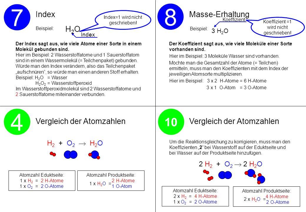 7 8 4 10 Index Masse-Erhaltung Vergleich der Atomzahlen