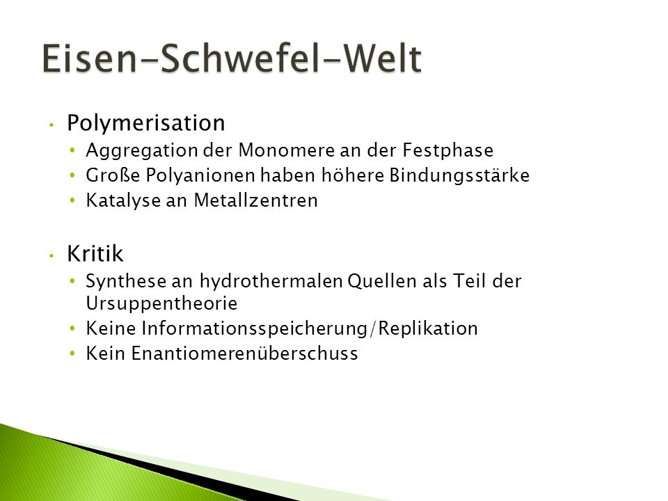 Eisen-Schwefel-Welt Polymerisation Kritik