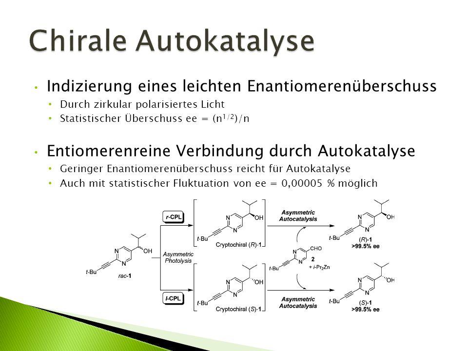 Chirale Autokatalyse Indizierung eines leichten Enantiomerenüberschuss